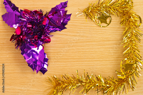 Gold Christmas on Wood Table Top View Background