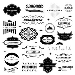 Retro Design Elements. Labels In Retro Style Isolated On White