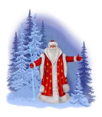 Нарисованный Дед Мороз на фоне зимнего леса