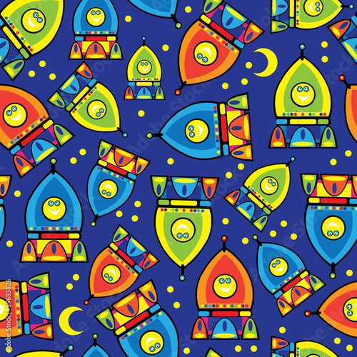 rocket toy seamless pattern