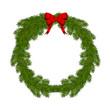 новогодний венок из елочных веток с красным бантом
