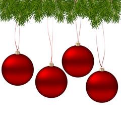 красные реалистичные шары игрушки на белом фоне с ветками
