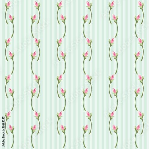 Deurstickers Retro Rosebud background 5