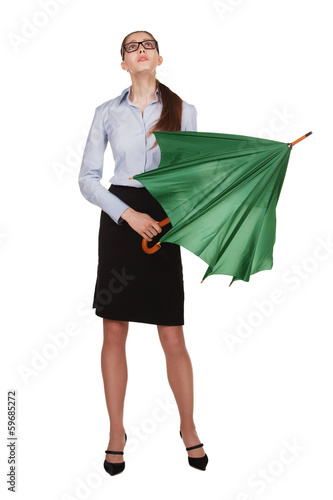 Woman is going to reveal a green umbrella