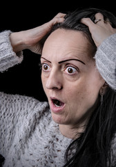 surprised, shocked woman looking scared