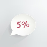 Five Percent Off Speech Bubble