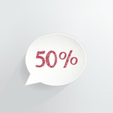 Fifty Percent Off Speech Bubble