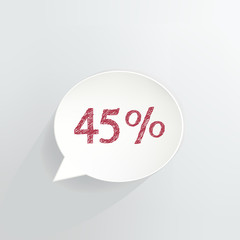 Forty Five Percent Off Speech Bubble