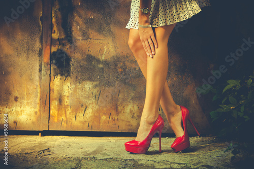 canvas print picture red high heel shoes