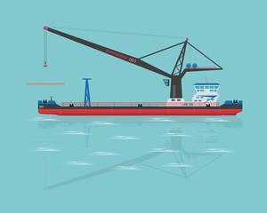 Black floating crane