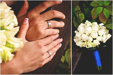 Свадебные кольца и букет