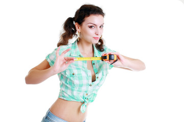 girl with a tape measure