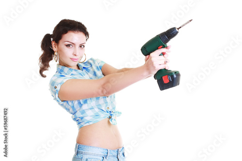 woman with hand drill