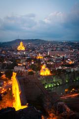 Tbilisi, the capital of Georgia, at night