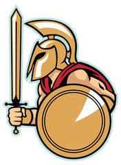 spartan army with shield