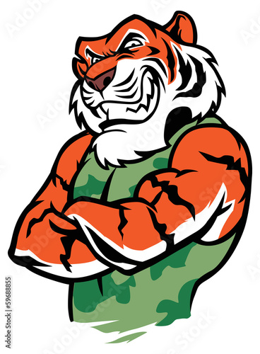 muscle tiger fighter posing