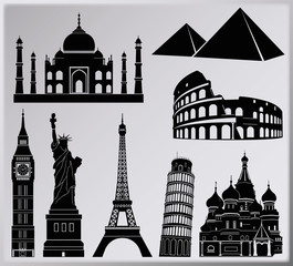 World wonders vector collection - eight piece