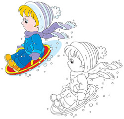 Child on an ice-boat