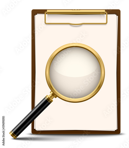 Clipboard and magnifying glass