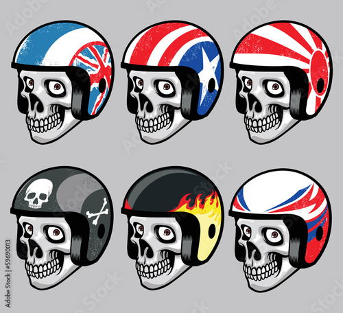skull wearing various  retro helmet