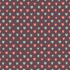 Retro seamless pattern with colorful hearts.