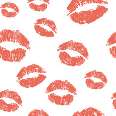 Vector seamless background. lips prints