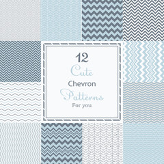 12 Cute different chevron vector seamless patterns (tiling).