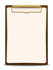 Clipboard with blank paper, vector illustration