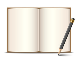 Open book and pencil, vector illustration