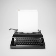 Concept of blogging. Typewriter with computer window