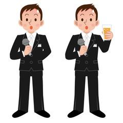 乾杯の挨拶で緊張する男性