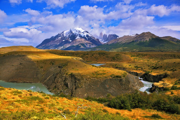 The grand landscape in the  park Torres del Paine