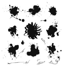 Collection of ink splash. EPS 8 + jpg