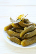 pickled gherkins on a plate