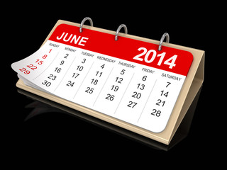 Calendar -  June 2014  (clipping path included)