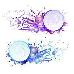 Grunge frame with colorful splashes. EPS 10 + jpg