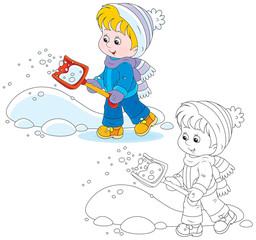 Child with a snow shovel