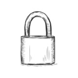 vector sketch illustration - padlock