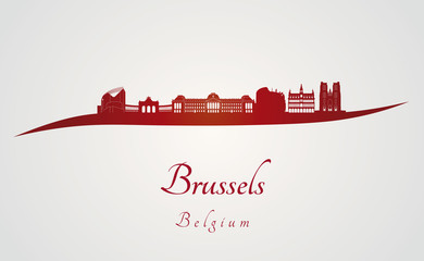 Brussels skyline in red