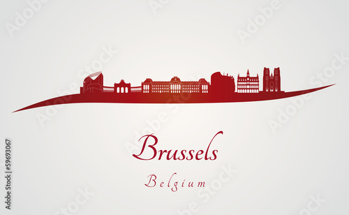Fototapeta Brussels skyline in red