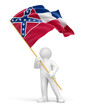 Man and flag of Mississippi (clipping path included)