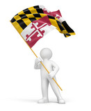 Man and flag of Maryland (clipping path included)
