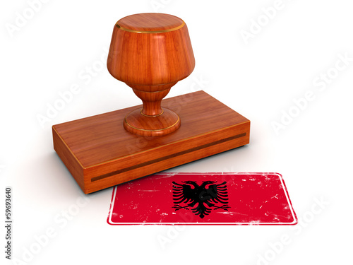 Rubber Stamp Albanian flag (clipping path included)