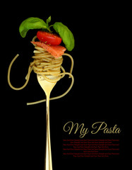 Fork with spaghetti, tomato, salmon and basil on black
