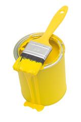 Farbdose mit Pinsel