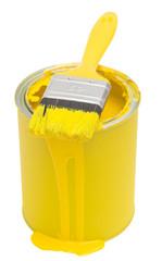 Gelbe Farbdose mit Pinsel