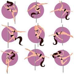 pole dance tricks,vector illustration