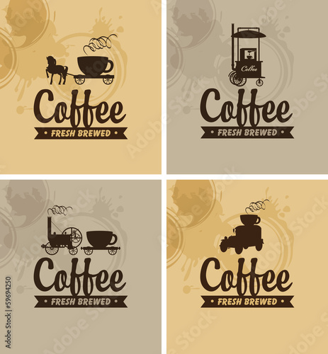 four banners for fresh coffee on a mottled background
