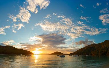sunset on the coast of Mahe