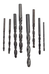 Set of drill bits for metal isolated in white
